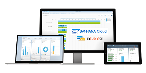 SAP S/4 HANA Cloud ERP Solutions - UK SAP Gold Partner Influential Software - example dashboards